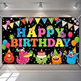 Monster Birthday Backdrop Birthday Party Monster Photography Background Decorations Happy Birthday Monster Backdrop Banner Cake Table Banner for Baby Shower Monster Party Supplies Photo Booth Props