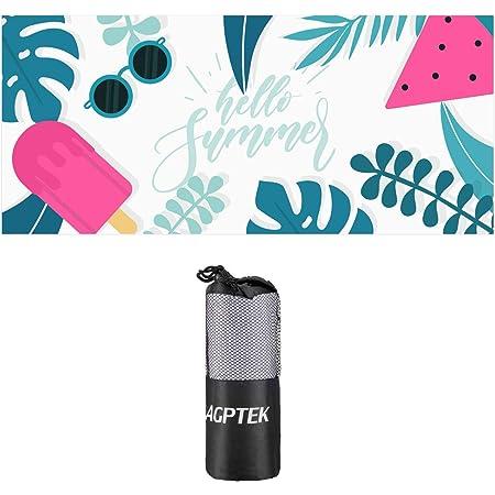 AGPTEK toalla de playa de microfibra, con 1 bolsa de transporte, sin arena, secado rápido, compacto para adultos, mujeres, camping, viajes, gimnasio, yoga, piscina, al aire última intervensión, deportes, blanco, grande 180 por 80 cm