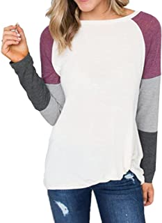 Casual Tops for Women,2019 Fashion Ladies Long Sleeve O-Neck Color Block Loose Pullover T-Shirt by Chaofanjiancai