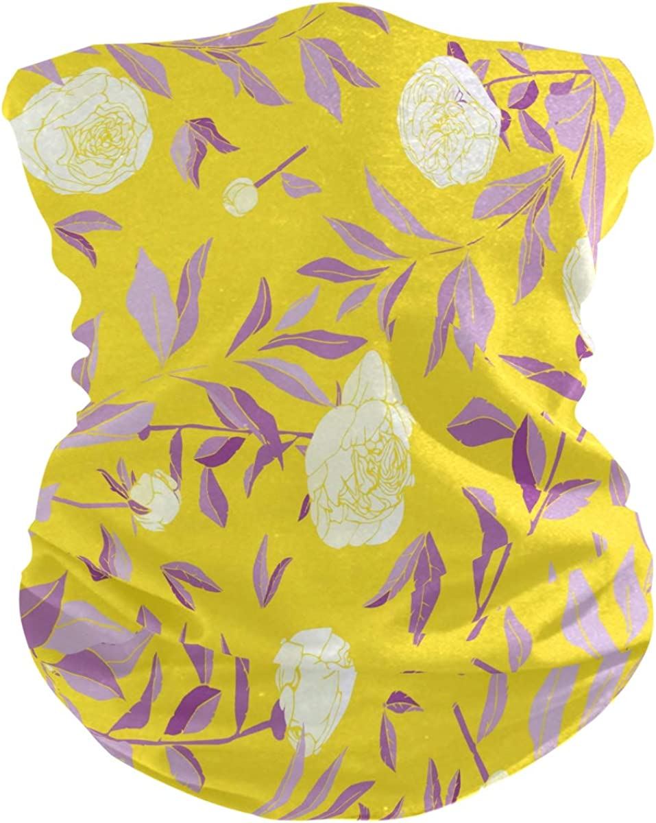 SUABO Sun Face Scarf for Men Flowers Neck Gaiter Headwraps Headband Bandana for Women
