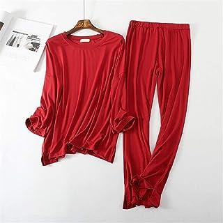 Pijamas para Mujer Cómodo algodón modal pijamas mujeres manga larga pijamas conjunto otoño invierno ropa hogar casual largo pantalón duerma pijama Pijamas de verano ( Color : D , Size : XXL Size )