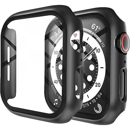 LK Compatible con Apple Watch Series 6/5/4/SE 44mm Protector de Pantalla,2 Pack,PC Funda, Cristal Vidrio Templado