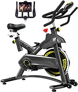 Cyclace Exercise Bike Stationary 330 Lbs Weight Capacity- Indoor Cycling Bike with Ipad Holder and LCD Monitor for Home Workout