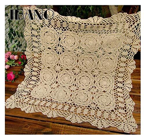 Gzjdtkj Manteles Posavasos de Crochet Hechos a Mano Paño de algodón Taza de Mesa Mat Mantel Vintage Mantel de Crocheted (Color : Beige, Specification : 110x110cm)