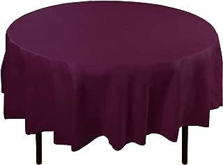 12-Pack Premium Plastic Tablecloth 84in. Round Table Cover - Plum