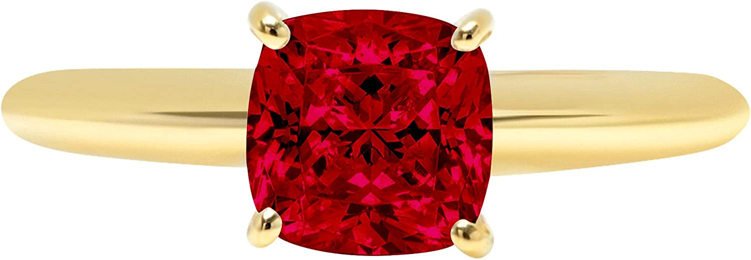 1.50 ct Brilliant Cushion Cut Solitaire Natural Deep Pomegranate Dark Red Garnet Gemstone Ideal VVS1 4-Prong Engagement Wedding Bridal Promise Anniversary Ring Solid Real 14k Yellow Gold for Women