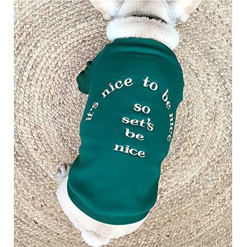 Zhyaj Huisdier hondenjas voor kleine en middelgrote honden, familiekleding voor huisdieren in de herfst en winter, tweepotige kleding voor de bulldog, dames-sweatshirt, groen, 3XL