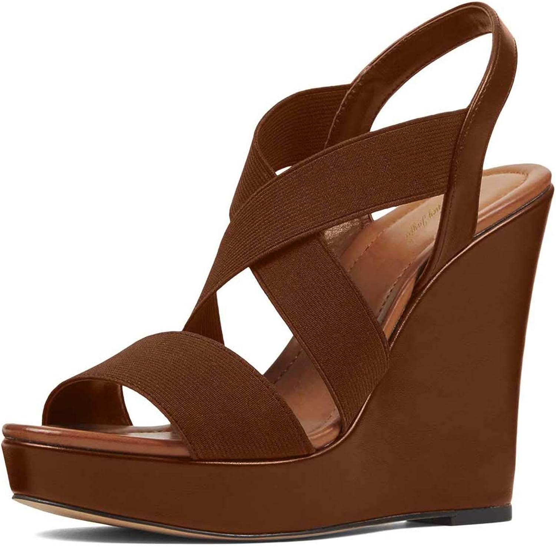 NJ Women Fashion Crisscross Strap Wedge Sandals Open Toe Platform High Heel Slingback Elastic Slip On Party Pump Summer shoes