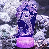 Lmeison Night Lights for Kids, Mermaid 3D Illusion Lamp LED Desk Table Nightlight with Smart Touch & Remote Control, 16 Colors Changing, Best Christmas Halloween Birthday Gift for Child Baby Girls