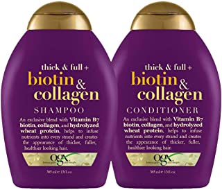 OGX Shampoo & Conditioner, Thick and Full + Biotin and Collagen, 385 ml (Pack of 2)