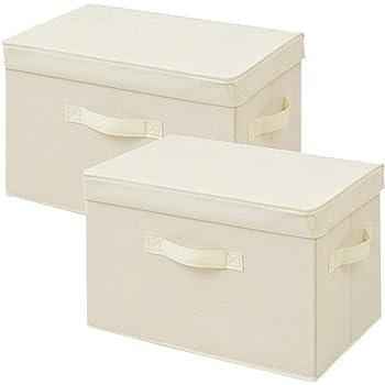 [山善] ふた付き 収納ボックス 幅38×奥行25×高さ25cm 取っ手付き カラーボックス対応 完成品 アイボリー 2個組 YTCF-2PF(IV)