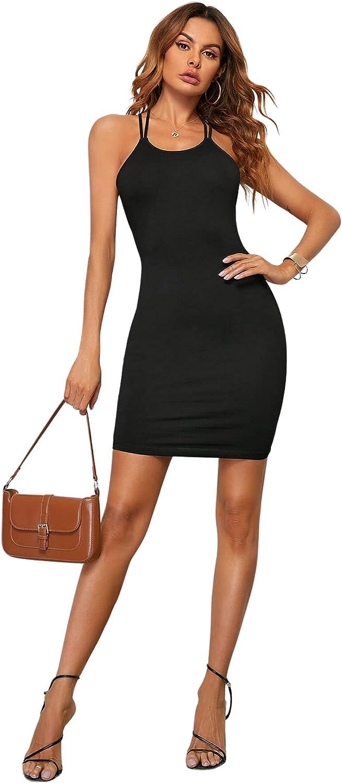 SheIn Women's Sexy Open Back Crisscross Lace Up Cami Mini Bodycon Club Party Dress