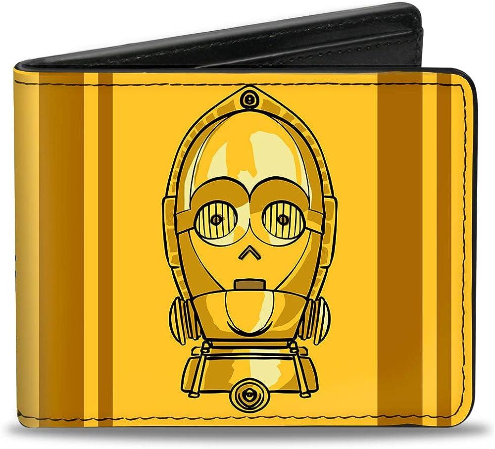 Buckle-Down Men's Standard Bifold Wallet Star Wars C3-PO, 4.0