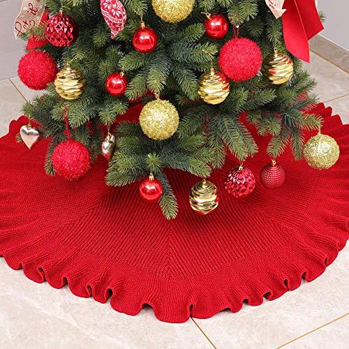 prom-note Weihnachtsbaum-Rock Roter Weihnachtsdeko 48 Zoll Traditionelles Thema Festlicher Feiertag Gestrickte Bodenmatte Für Weihnachten Home Party Hall Dekoration