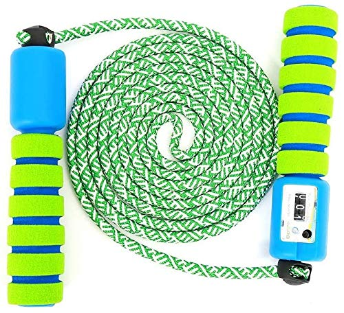 Springseil Kinder, Springseil mit Zähler & Komfortablen Griffen, Speed Rope Skipping Rope für Fitness Training und Boxen, Jungen und Mädchen Einstellbar Baumwolle Seilspringen 6 8 10 Jahre (Grün)