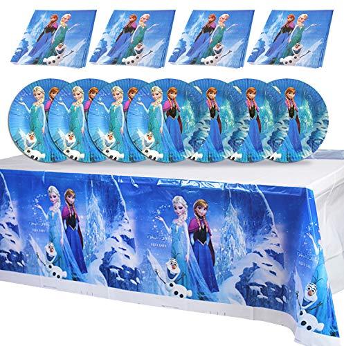 Qemsele Vajilla de cumpleaños de niños, 1 Mantel + 20 Servilletas + 20 Platos Desechables Fiesta Cumpleaños Decoración, Feliz cumpleaños Decoraciones Suministros Fiestas Regalos Tema Carnaval (Frozen)