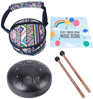 FS‑55 C Key 5.5inch Tongue Percussion Drum, Portable Black Steel Tongue Drum, for Yoga Musical Education