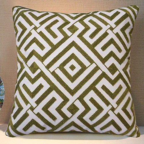 Baozengry Coton Broderie Fleur Taie d'oreiller moderne minimaliste en trois Dimensions géométriques Modèle pièce Jaune brodée Canapé Taie d'oreiller, Coton, Green back, Core