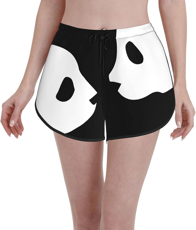 Women's Casual Short Pants Cute China Panda Black Quick Dry Beach Shorts Drawstring Elastic Waist Beach Trunks Board Shorts