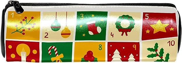EZIOLY Trousse en cuir avec calendrier de l'Avent à carreaux - Pour stylos, crayons, pièces de monnaie, cosmétiques, maqui...