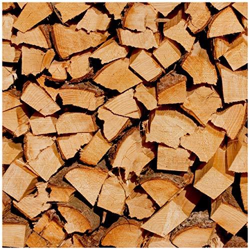 Wallario Aluminiumverbund, Bild auf Aluminium, Holzstapel gehackt - Holzscheite für den Kamin - 50 x 50 cm in Premium-Qualität: gebürstete Oberfläche, freischwebende Optik