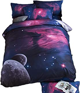 TONGDAUS Galaxy Bedding Girls Twin Size Red and Purple Duvet Cover Set 3 Pieces 1 Galaxy Comforter 2 Pillowcases (Size : 2002303)