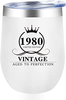 1980 40th Birthday Gifts for Women Men, Dorkar 12 oz Stainless steel Wine Tumbler with Lid, Insulated Coffee Cups as Perfe...