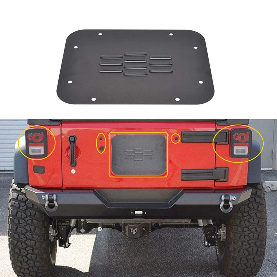 GZSJY Jeep Wrangler Rear Tailgate Accessories - Tailgate Plugs/Vent-Plate Cover/Light Cover for 2007-2018 Jeep JK Wrangler & Unlimited