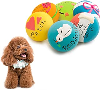 HOLYSTEED Squeaky Dog Toys Latex Dog Toy, Squeaky Balls for Dogs, Dog Squeaky Toys for Dogs Small and Medium to Fetch, Chase, Chew 6pcs Non-Aggressive Chewer