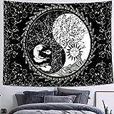 Tapiz de fase lunar de mariposa, cielo estrellado, luna y sol,...
