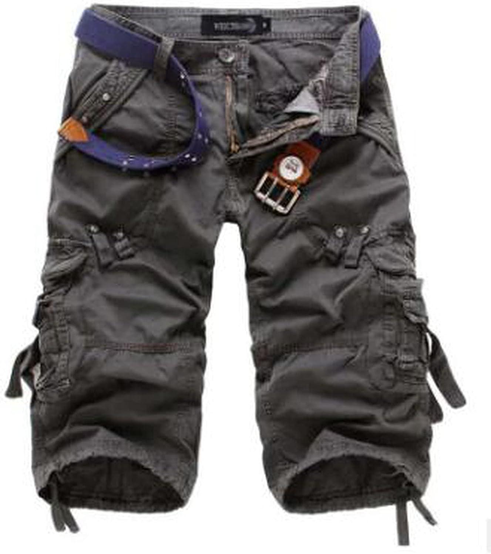 Summer Men Military Work Short Casual Bermuda Loose Cargo Shorts Fashion Overall Trousers-Dark Grey-30