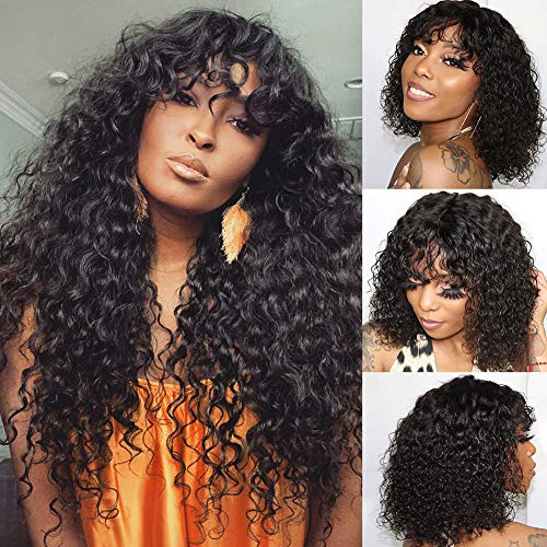 CYNOSURE Hair Human Hair Wigs with Bangs 150% Density Glueless Water Wave Bang Wig Human Hair for Black Women Natural Black None Lace Front Wig with Bangs(16, Water Wave Wig)