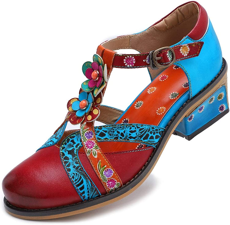 LHWAN Frauen Vintage Mary Jane Pumps Schuhe Leder Rundkopf T-Schnalle Blaume Farbe Streifen Sandalen