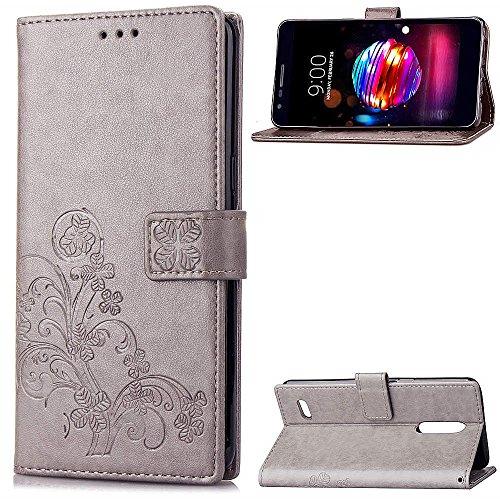 LAGUI Hülle Geeignet für LG K8 2018 / LG K9, Schönes Muster Brieftasche Handyhülle Mit Kartenfächern, & Fach & Magnetische Verschluss, Anti-Scratch, stoßfeste. Grau