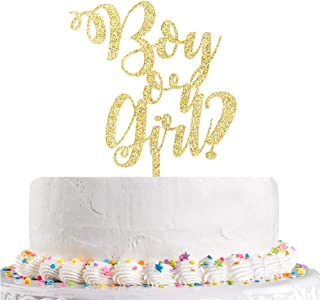 Boy or Girl Cake Topper,Baby Shower,Gender Reveal,Baby 1st Birthday Party Decoration Supplies(Gold Glitter Acrylic)
