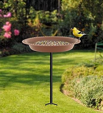 Garbuildman 28 inch Lightweight Birdbaths Antique Decoration Detachable Birdfeeder & Bird Bath for Outdoor Garden, Oblong