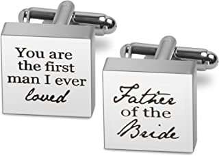 Elegant Personalized Wedding Cufflinks Round Monogrammed Date and Initials Engraved Cufflinks Father of The Bride Gifts for Him