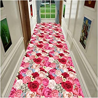 Non-Slip Carpet YANZHEN Hallway Runner Rugs Moisture-Proof Non-Slip Washable Front Door Mat Simple Pink Blended Fibers, Th...