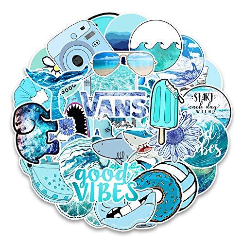 MARSFORCE Schöne Vsco Blau Aufkleber für Wasserflaschen Wasserdicht Vinyl Stickers für Laptop Skateboard Auto Motorrad Fahrrad Gitarre PS4 Koffer Snowboard Handy Pad DIY Party [53 Stück Pack]