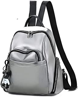 HUShjsd Backpack,Soft Leather Backpack Large Capacity Fashion Wild Travel Backpack Casual Student Bag (Color : Silver)