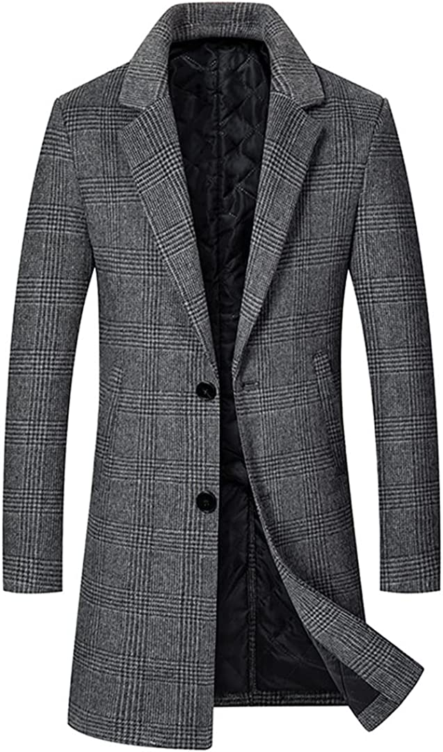 Men Plaid Wool Blend Coat Woolen Coats Winter Warm Thick Long Wool Overcoat