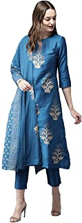 GoSriKi Women's Regular Kurta with Palazzos and Dupatta