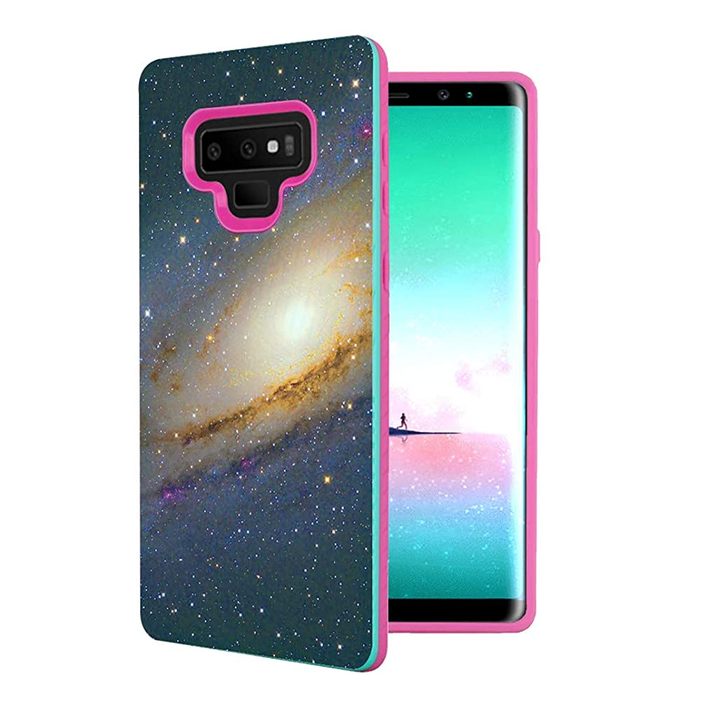 Capsule Case Compatible with Galaxy Note 9 [Shock Absorption Diagonal Lines Hybrid Slim Armor Support Wireless Charging Mint Pink Case] for Samsung Galaxy Note 9 - (Space Milkyway)