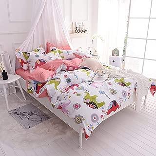 OTOB Soft Cartoon Bedding Sets Cotton Duvet Cover Bed Set Lightweight Elephant Home Textile Bedding Collection Gift for Girls Boys Kids Toddler Children Teen Domitory, European Polka Dot Print,Twin