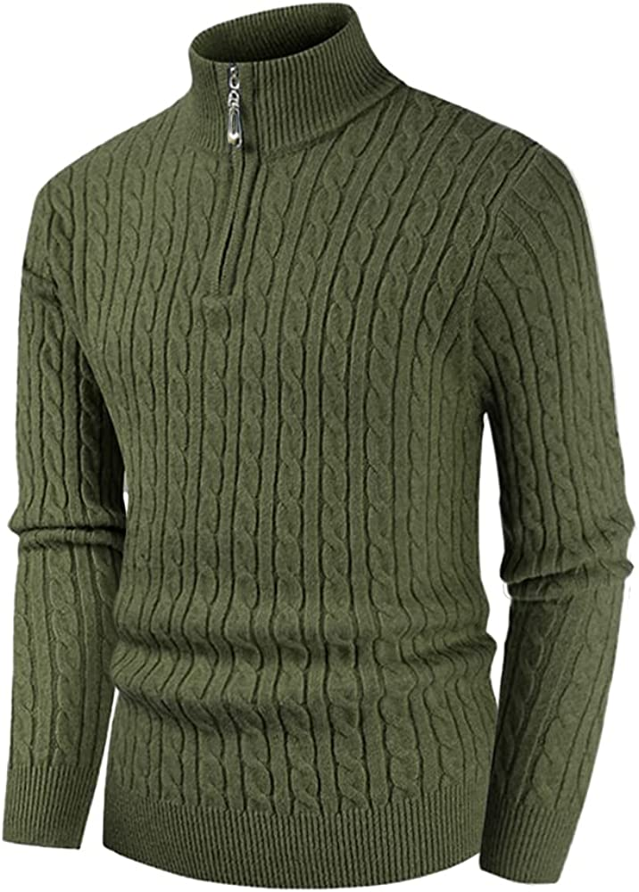 Pretifeel Mens Turtleneck Pullover Sweater 1/4 Zip Slim Fit Ribbed Twist Knitted Fall Winter Polo Sweater