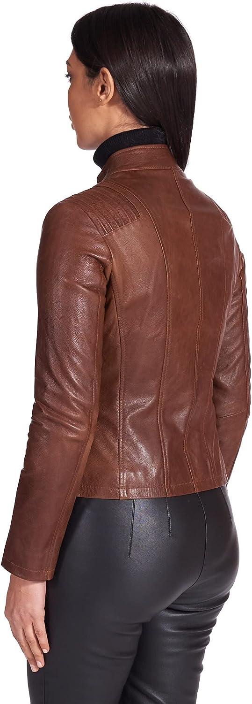 Tan Pull up Lamb Leather Biker Jacket Quilted Shoulder