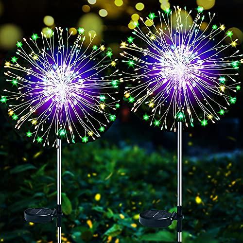 Lámparas Solares para Jardín, ZVO 2 Piezas 120 LED Luces Solares de Fuegos Artificiales, 2 Modos Luces Decorativas Impermeables para DIY,Exterior,Jardín,Césped,Fiesta,Navidad (Multicolor)