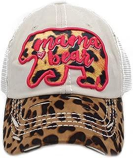 4350 DISTRICT Mama Bear Leopard Women's Mesh Baseball Hat