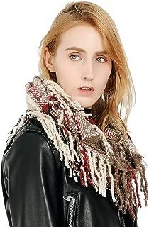 Women Plaid Infinity Scarf Blanket Scarf Cashmere-like Soft Warm Loop Winter Fall Tartan Scarf for Girls