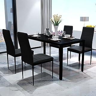 Vislone Conjunto de Mesa y 4 Sillas de Comedor Mesa de Comedor con Sillas de Vidrio Templado Negro